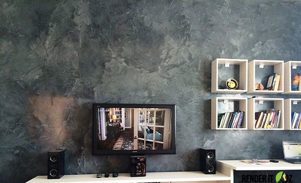 VENETIAN PLASTER PARADISE – CHARCOAL FEATURE WALL