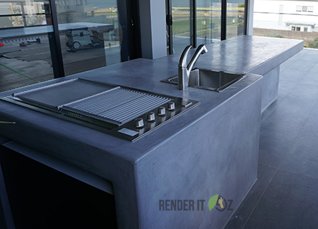 BUILT-IN TADELAKT OUTDOOR KITCHEN ON TERRACE